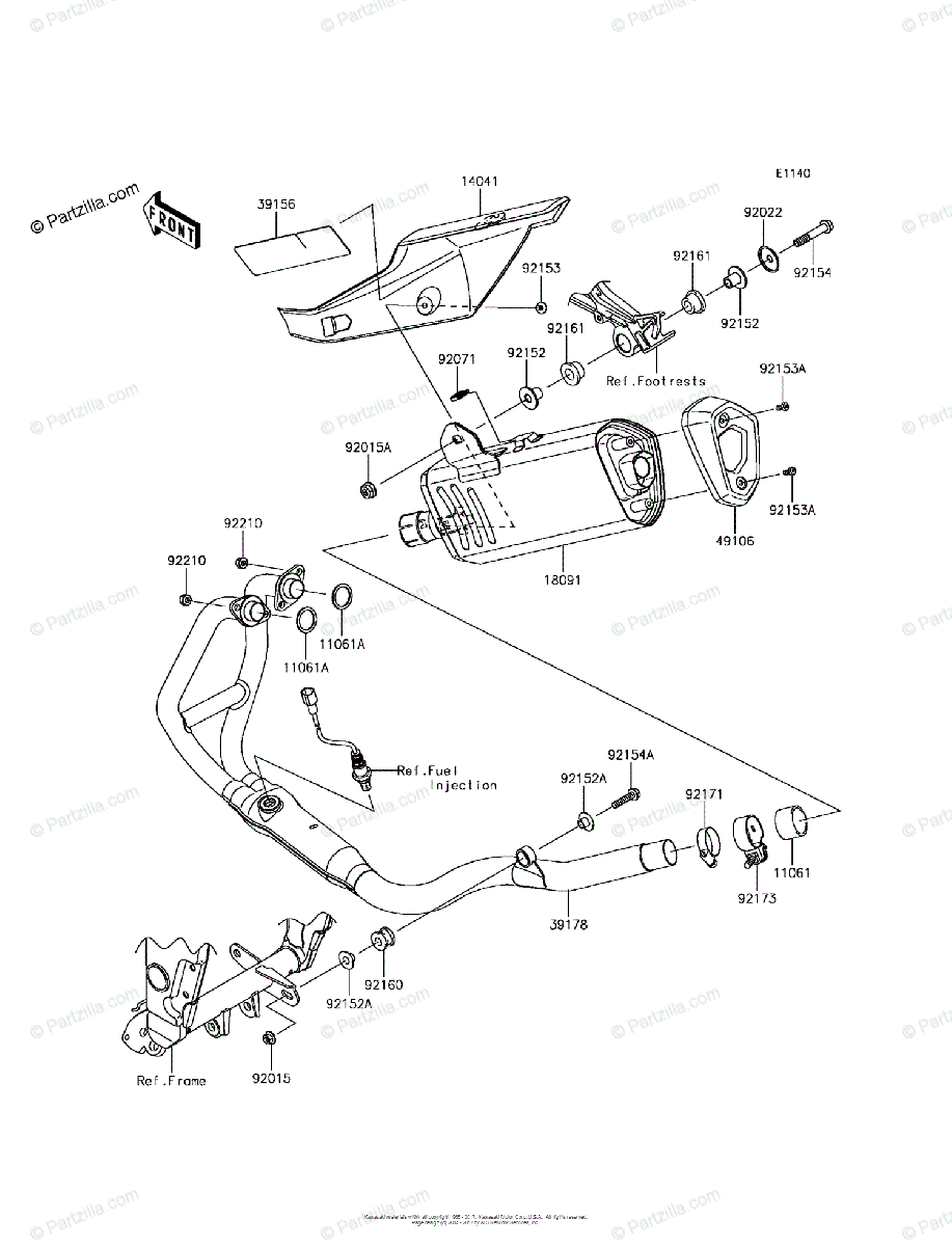 Kawasaki Motorcycle 2016 OEM Parts Diagram for Muffler(s