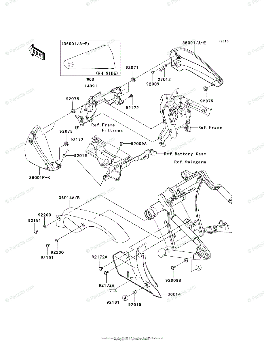 Kawasaki Motorcycle 2004 OEM Parts Diagram for Side Covers