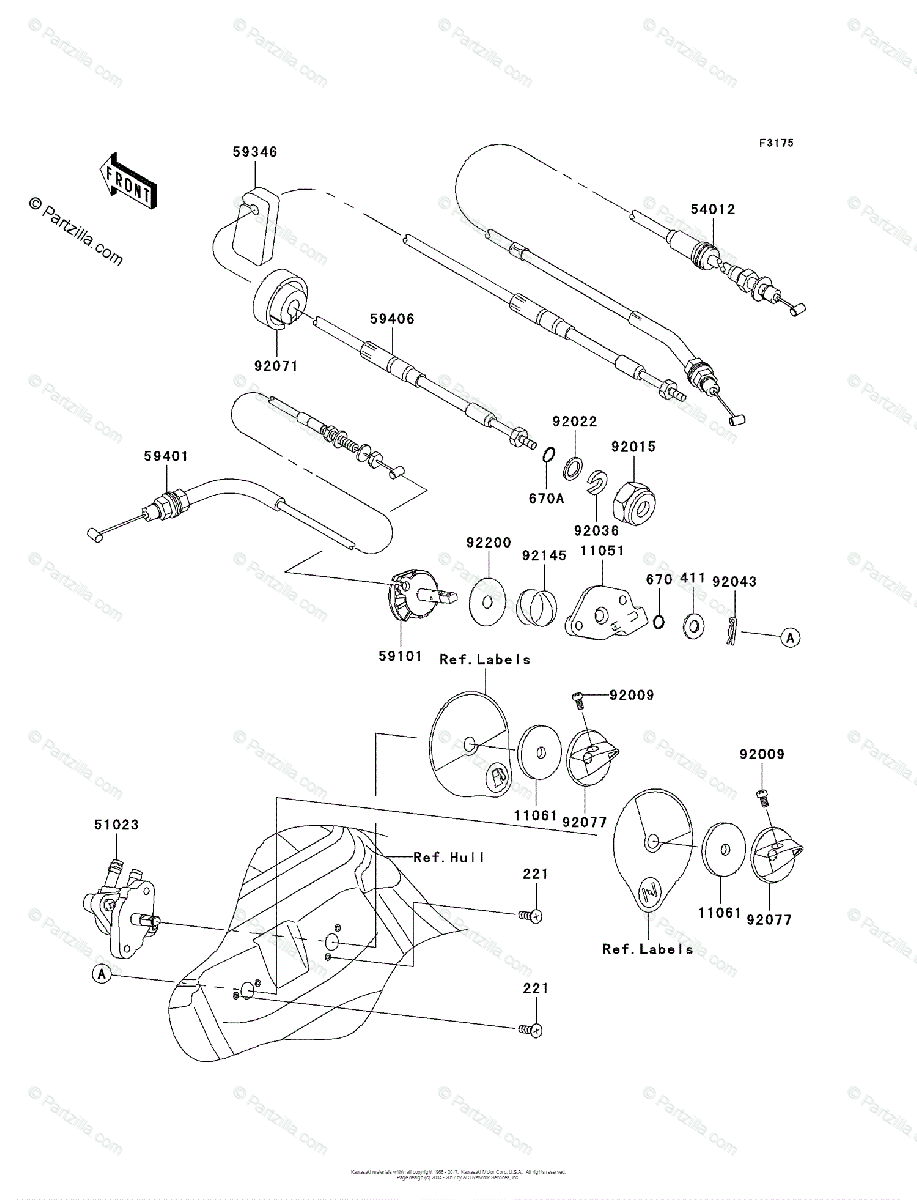 Kawasaki Jet Ski 2007 OEM Parts Diagram for Cables