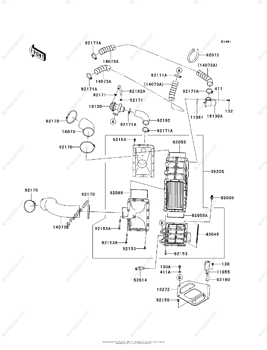 Kawasaki Jet Ski 2011 OEM Parts Diagram for Inter Cooler