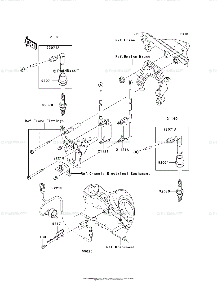 Kawasaki Motorcycle 2004 OEM Parts Diagram for Ignition