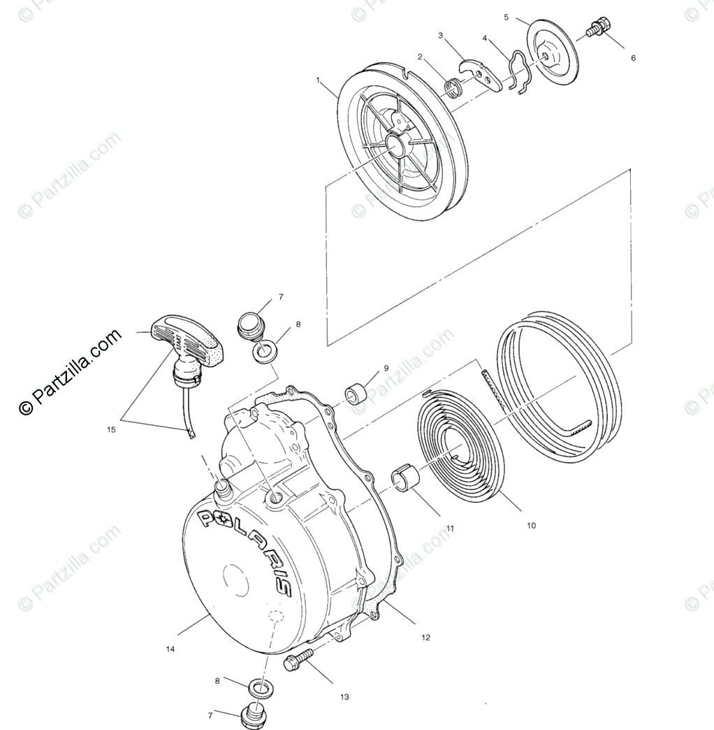 Polaris ATV 2002 OEM Parts Diagram for Recoil Starter