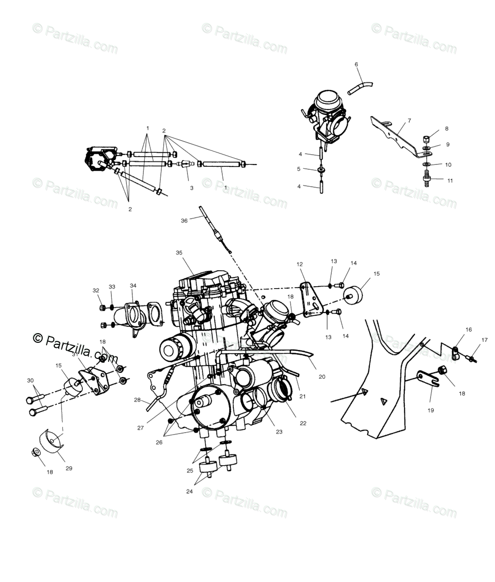 Polaris ATV 2004 OEM Parts Diagram for Engine Mounting