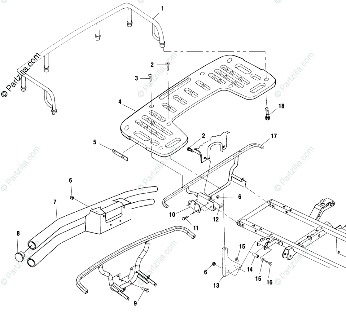 Polaris ATV 2001 OEM Parts Diagram for Rear Rack Mounting