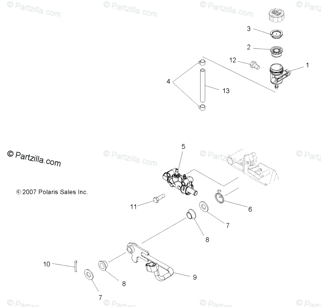 Polaris ATV 2008 OEM Parts Diagram for Brakes, Pedal