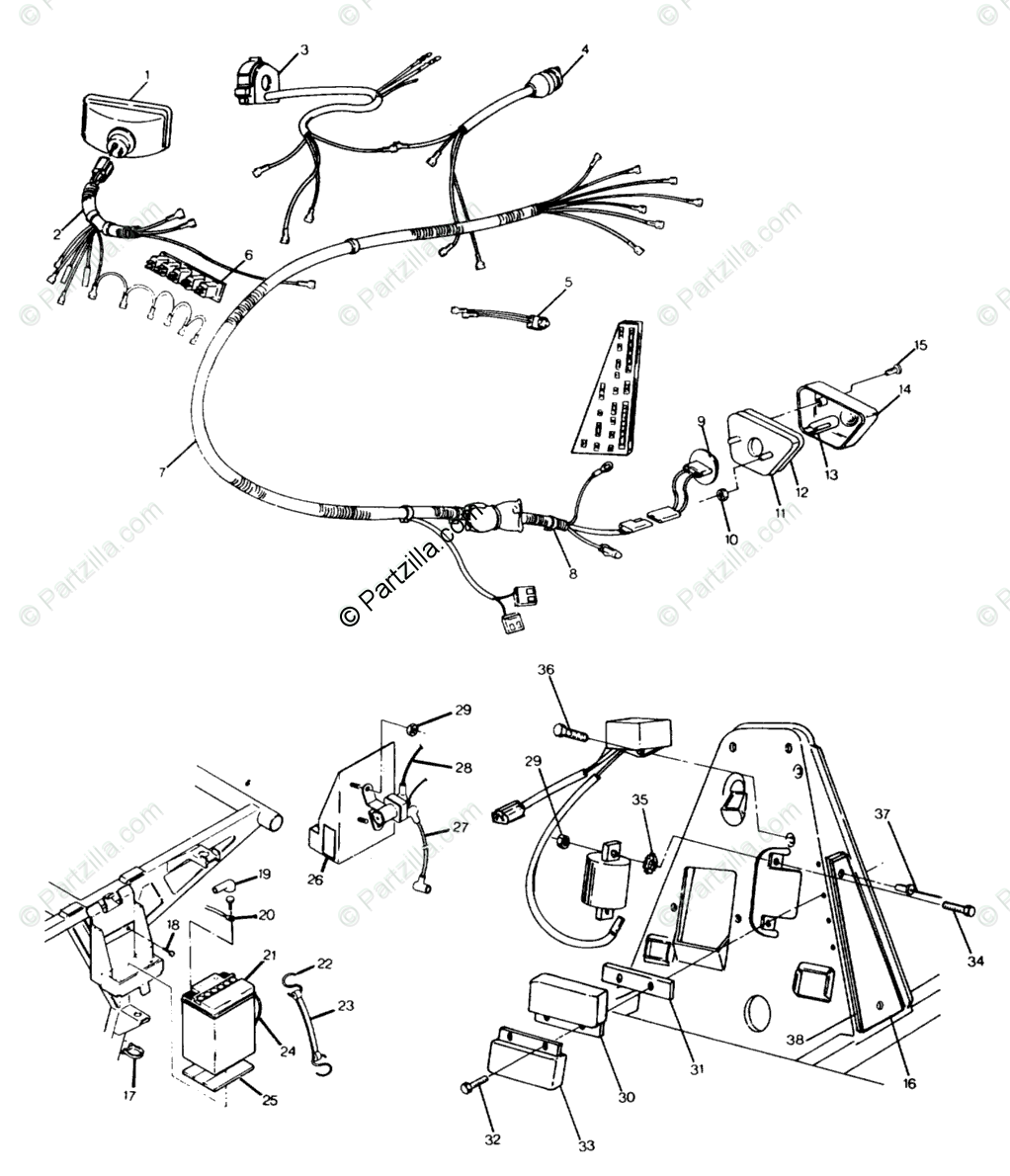Polaris ATV 1991 OEM Parts Diagram for Wiring Harness