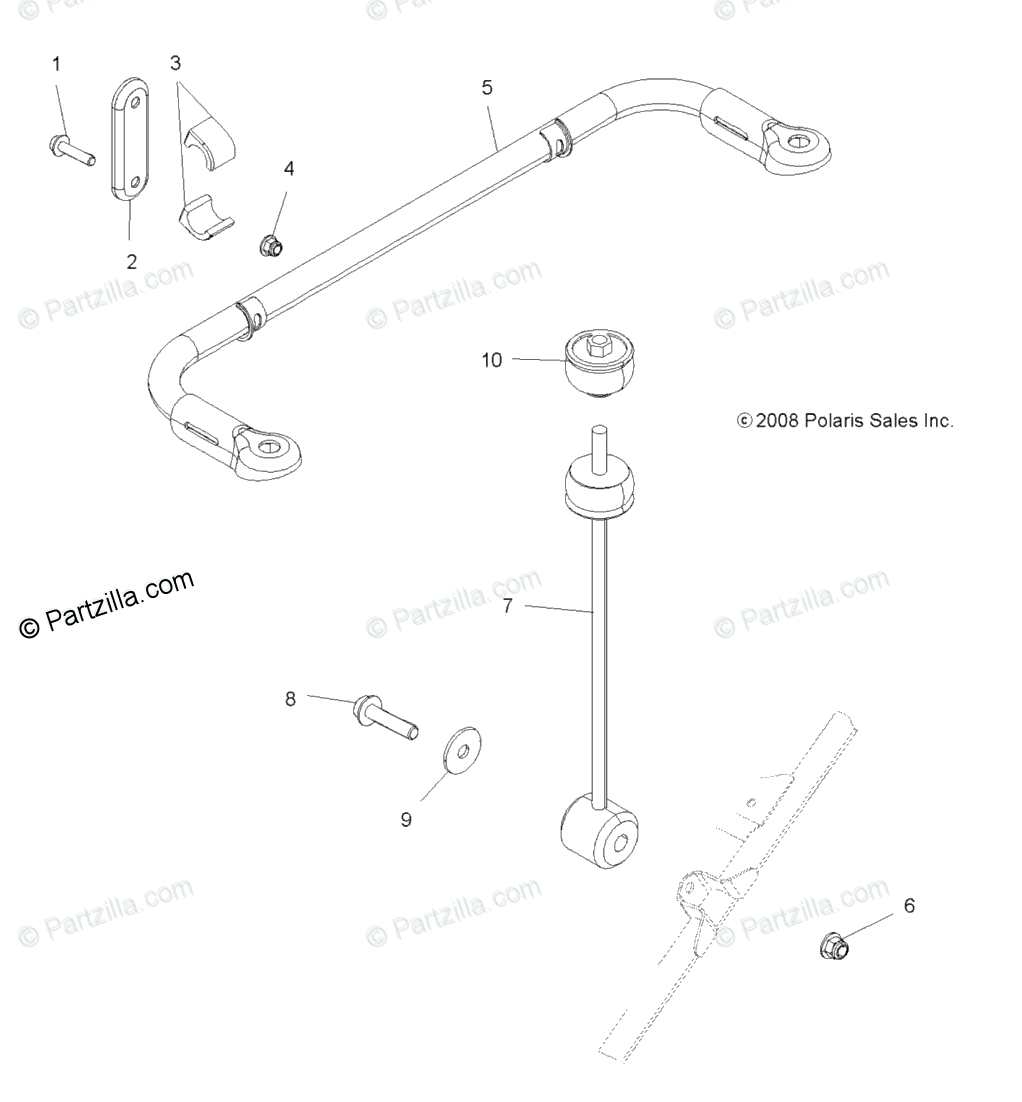Polaris ATV 2009 OEM Parts Diagram for Suspension
