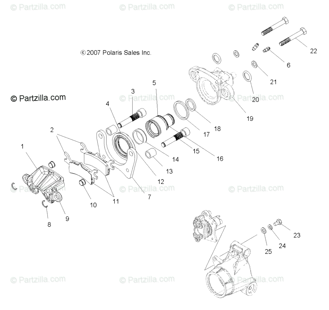 Polaris ATV 2008 OEM Parts Diagram for Brakes, Rear