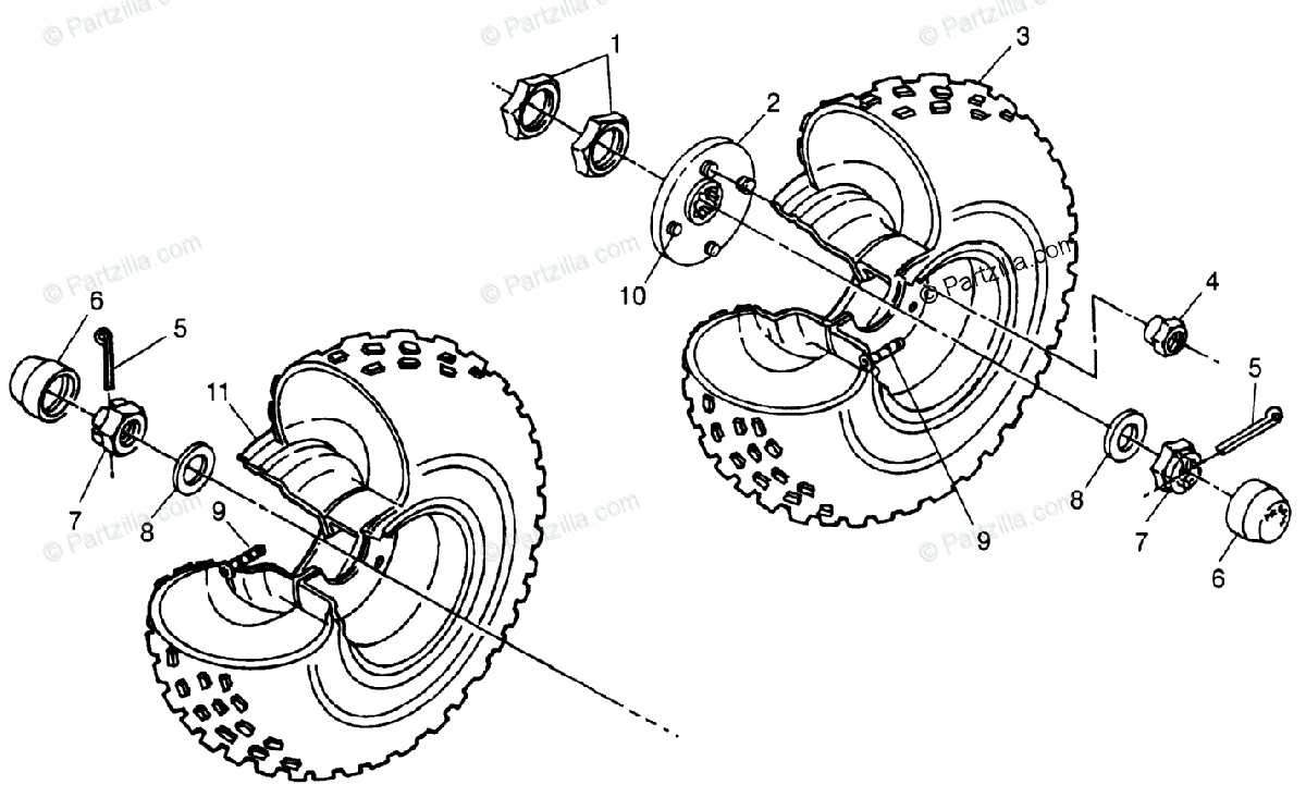 Polaris ATV 1998 OEM Parts Diagram for Middle Wheel