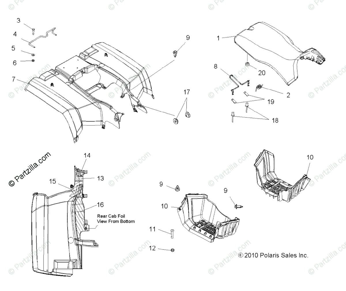 Polaris ATV 2012 OEM Parts Diagram for Body, Rear Cab