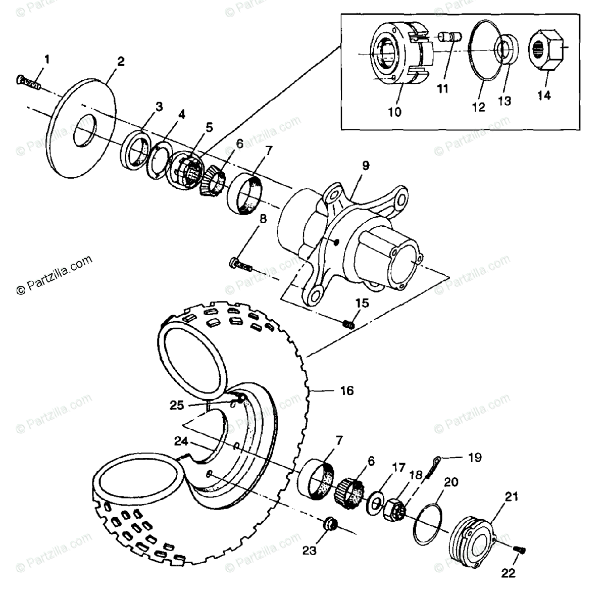 Polaris ATV 1998 OEM Parts Diagram for Front Wheel