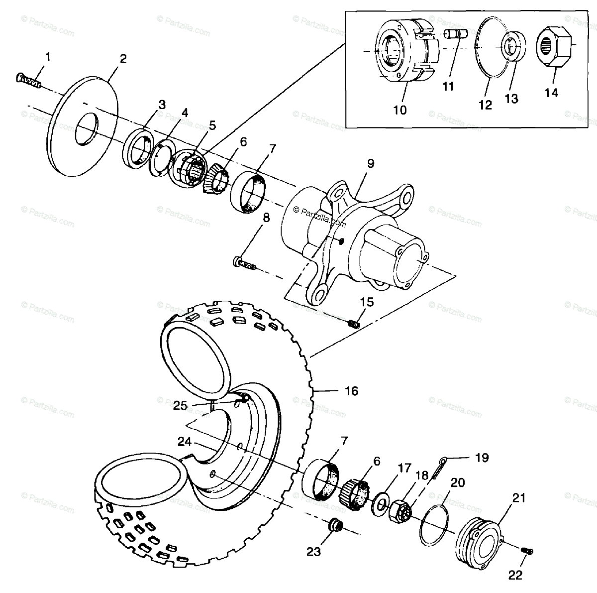 Polaris ATV 1999 OEM Parts Diagram for Front Wheel