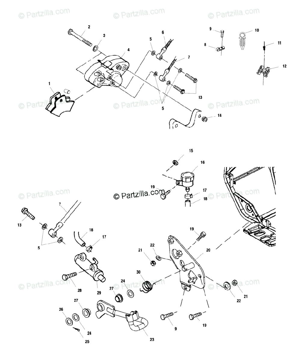 Polaris ATV 2000 OEM Parts Diagram for Rear Brake