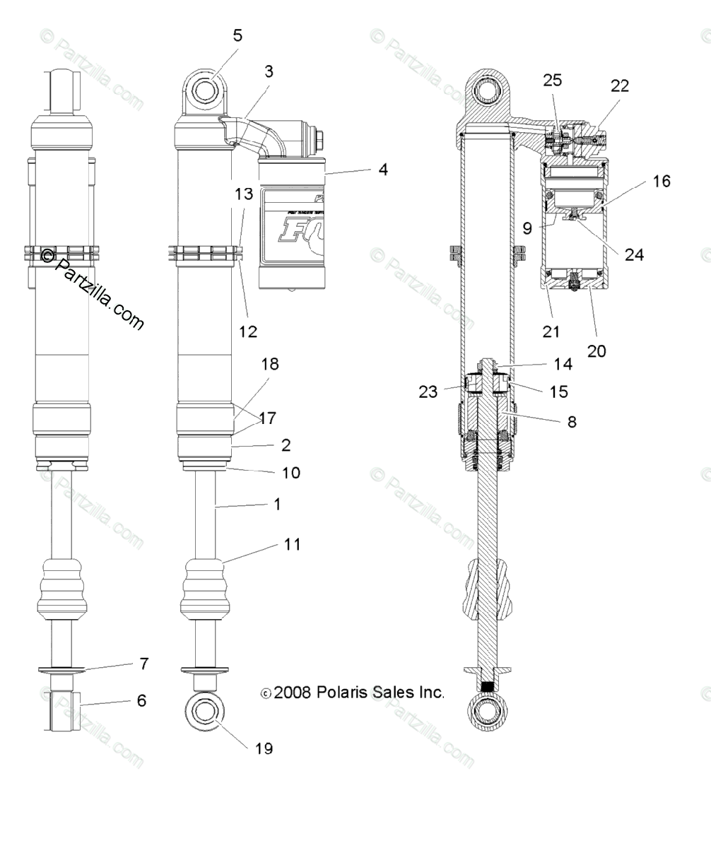 Polaris Side by Side 2009 OEM Parts Diagram for Suspension