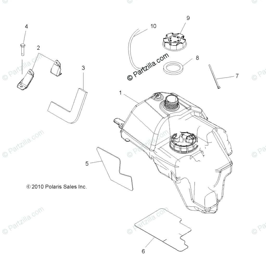 Polaris ATV 2012 OEM Parts Diagram for Body, Fuel Tank Asm