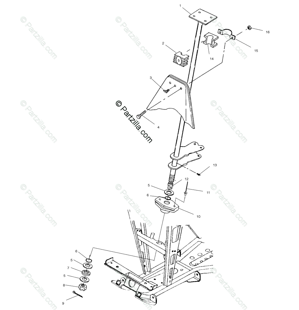 Polaris ATV 2000 OEM Parts Diagram for Steering Post