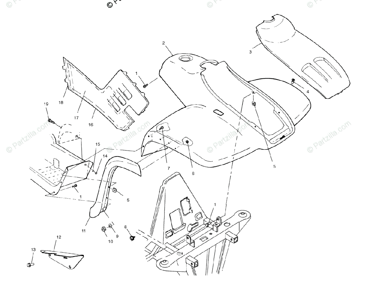 Polaris ATV 2002 OEM Parts Diagram for Front Cab