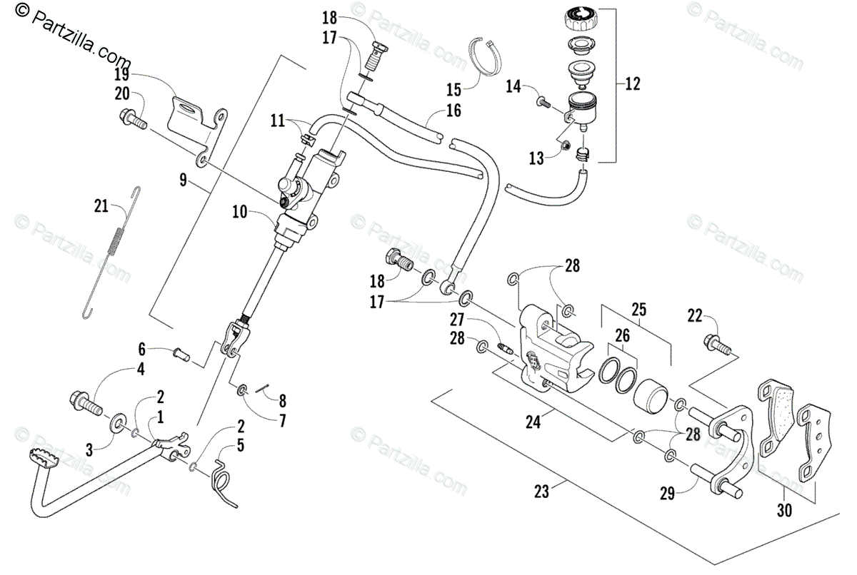 Arctic Cat ATV 2006 OEM Parts Diagram for Auxiliary Brake