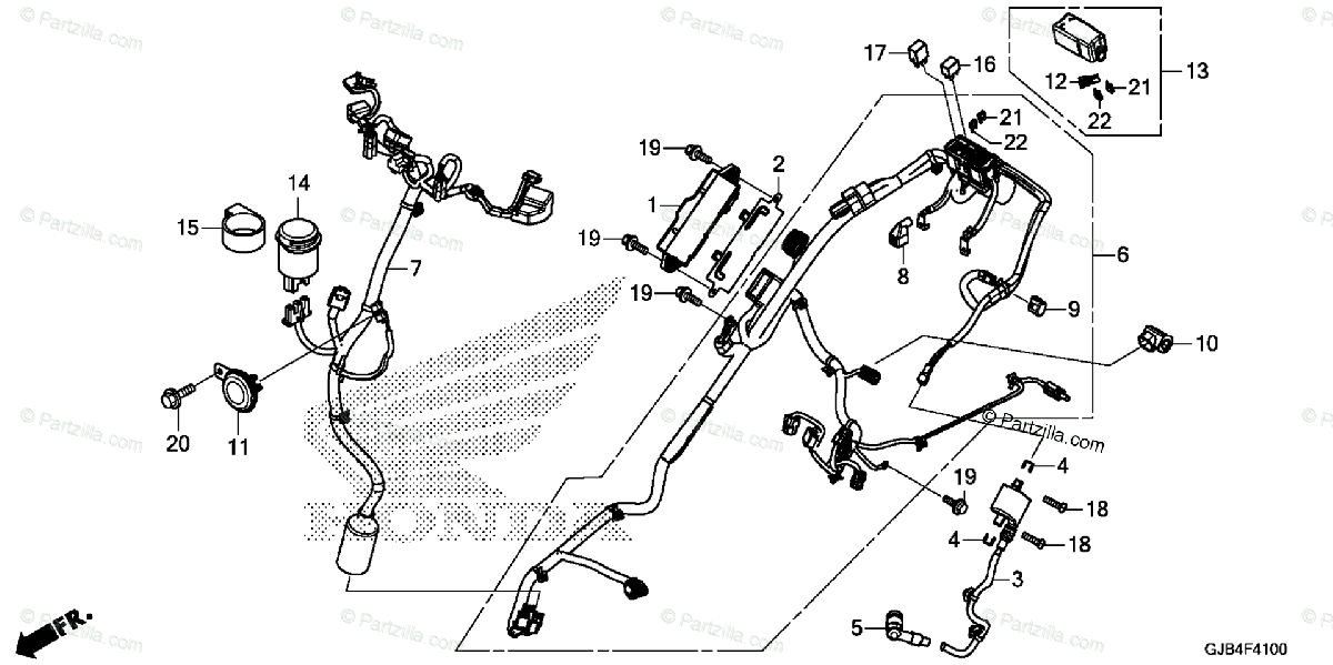Honda Scooter 2016 OEM Parts Diagram for Wire Harness