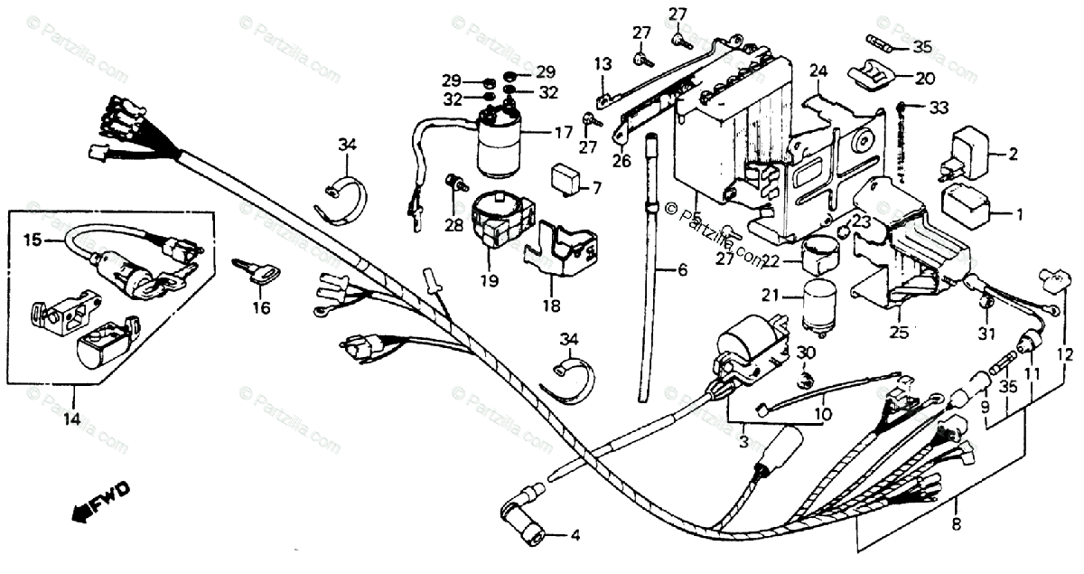 Honda Motorcycle 1983 OEM Parts Diagram for Wire Harness