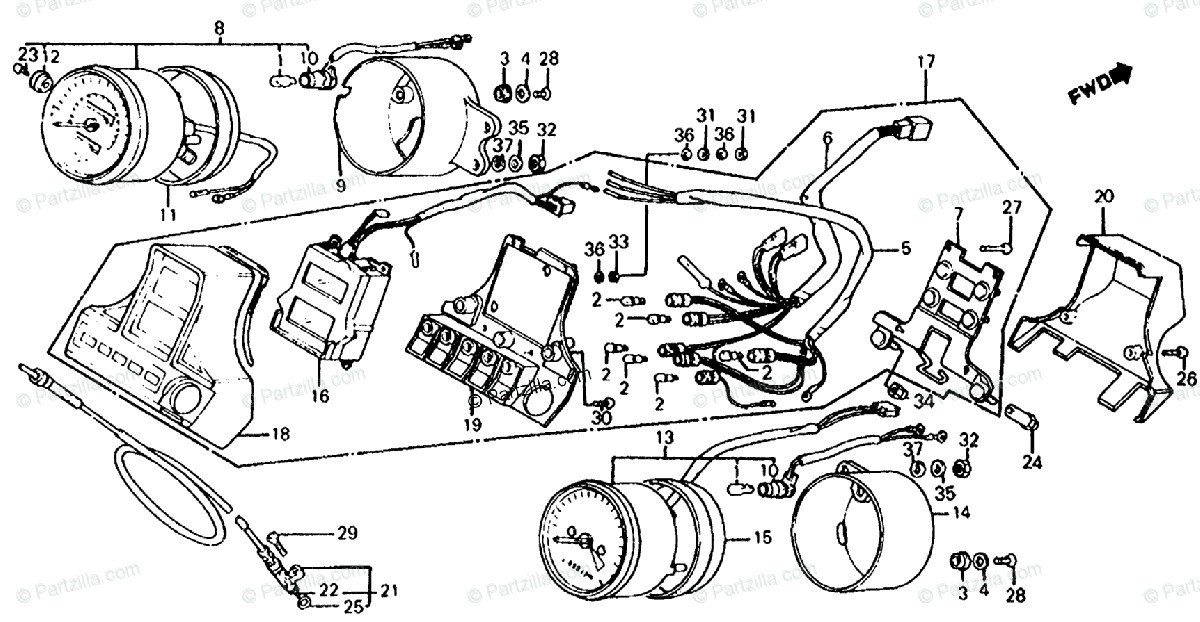 Honda Motorcycle 1985 OEM Parts Diagram for Speedometer