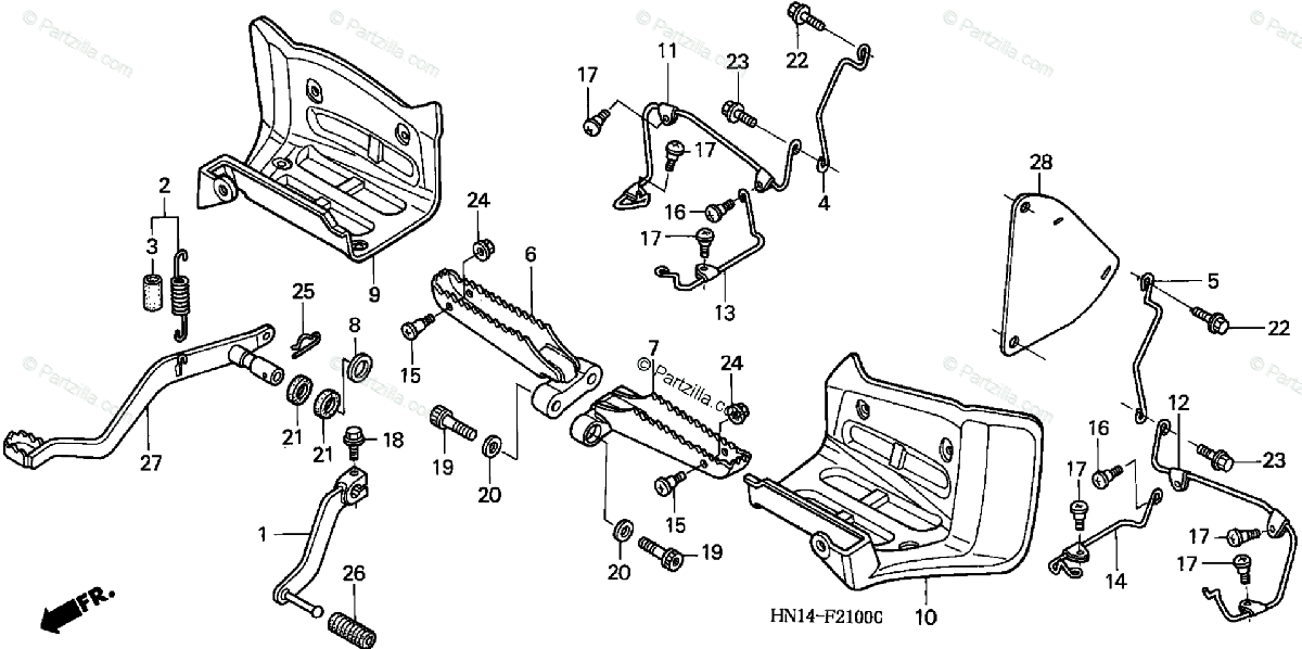 Honda ATV 2000 OEM Parts Diagram for Step / Pedal ('99-'04