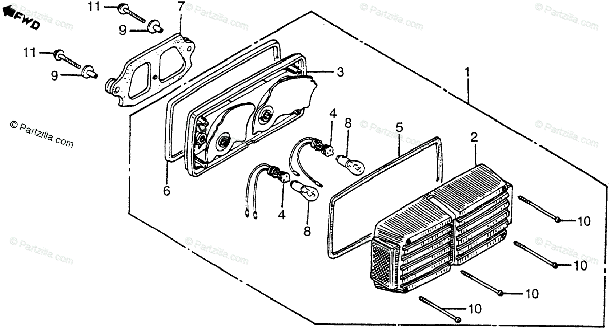 Honda Motorcycle 1981 OEM Parts Diagram for Taillight