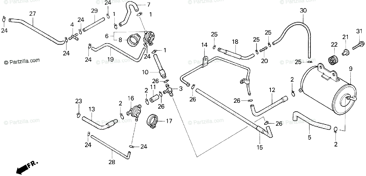Honda Motorcycle 1995 OEM Parts Diagram for Evap Canister