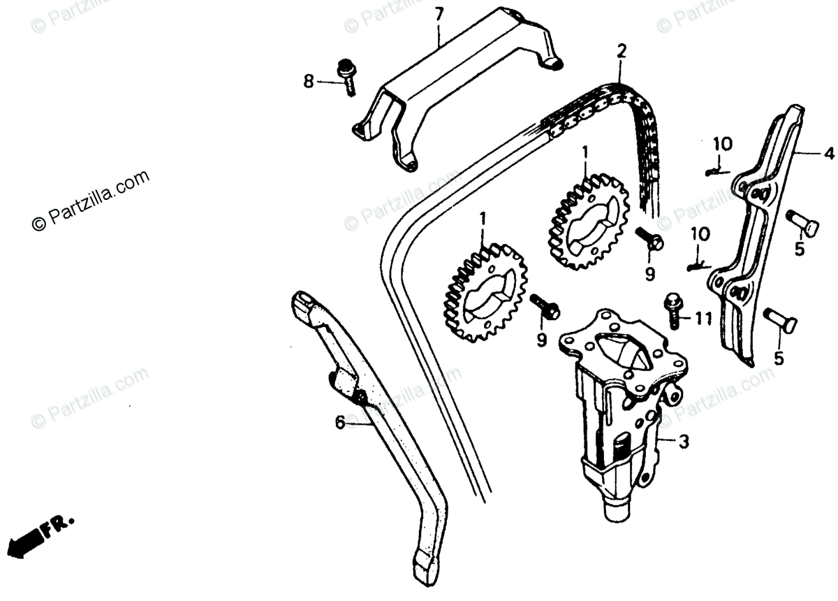 Honda Motorcycle 1990 OEM Parts Diagram for Cam Chain