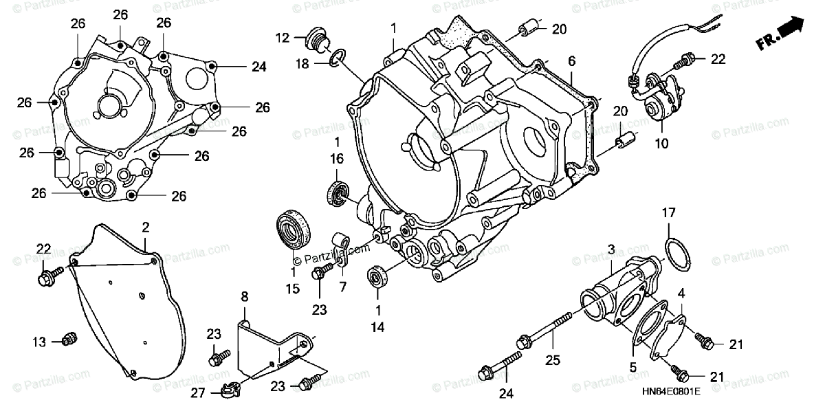 Honda ATV 2007 OEM Parts Diagram for Rear Crankcase Cover