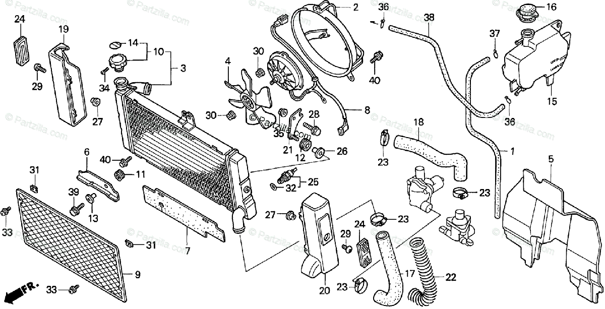 Honda Motorcycle 1998 OEM Parts Diagram for RADIATOR