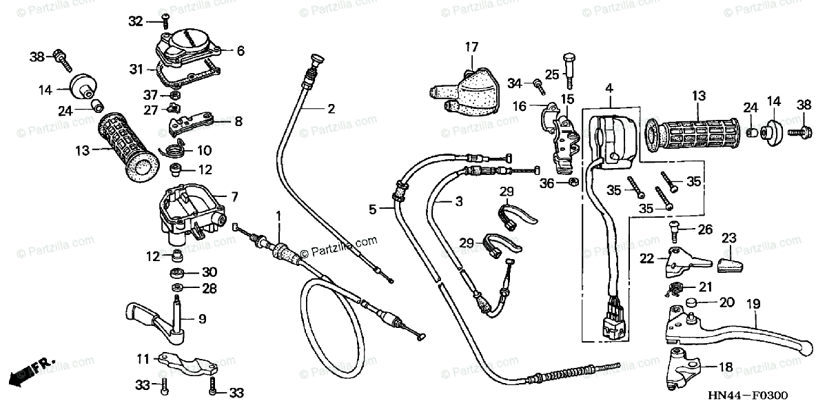 Honda ATV 2003 OEM Parts Diagram for Handle Levers