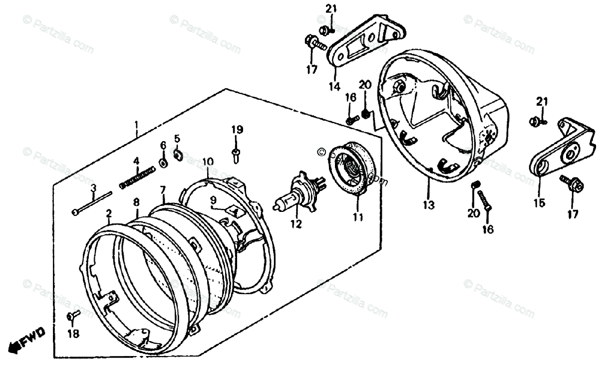 Honda Motorcycle 1983 OEM Parts Diagram for Headlight