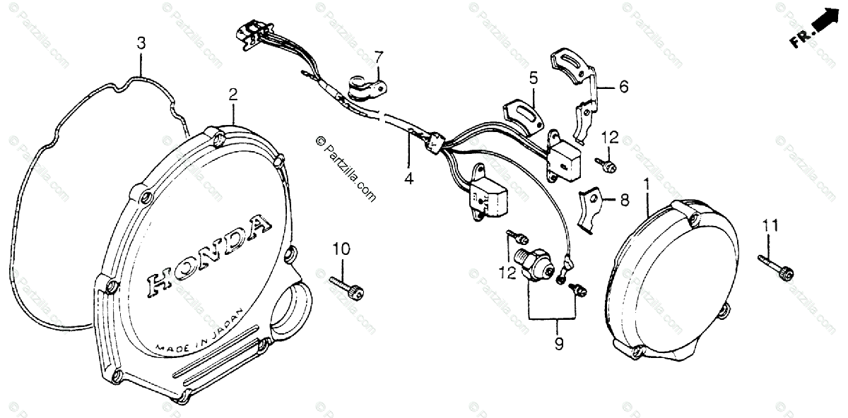 Honda Motorcycle 1984 OEM Parts Diagram for Clutch Cover