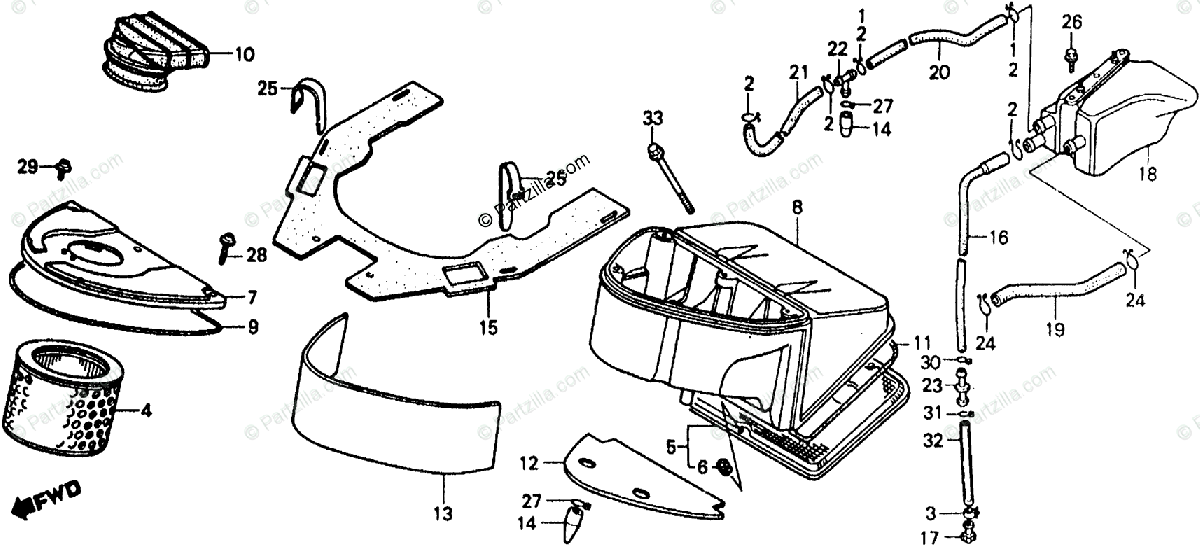 Honda Motorcycle 1986 OEM Parts Diagram for Air Cleaner