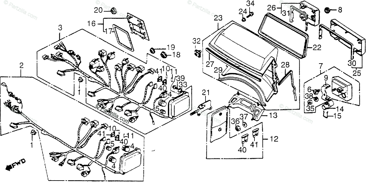 Honda Motorcycle 1985 OEM Parts Diagram for Fairing Wire