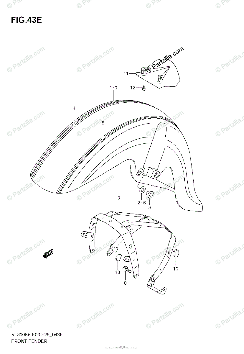 Suzuki Motorcycle 2009 OEM Parts Diagram for Front Fender