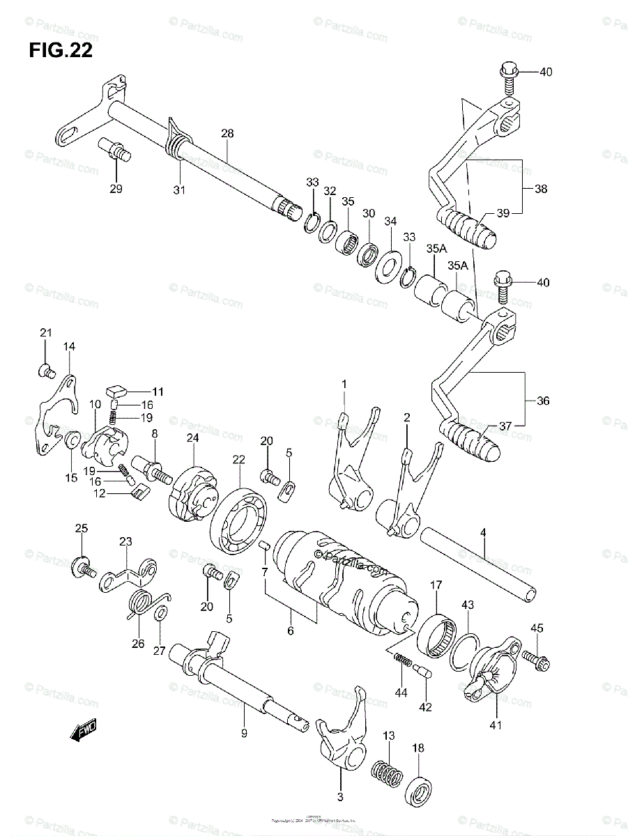 Suzuki ATV 2005 OEM Parts Diagram for Gear Shifting