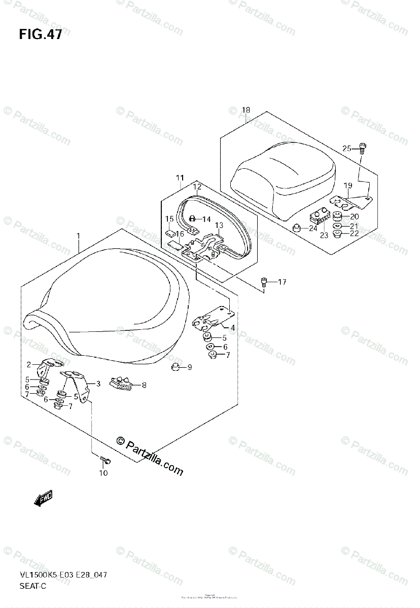 Suzuki Motorcycle 2005 OEM Parts Diagram for SEAT