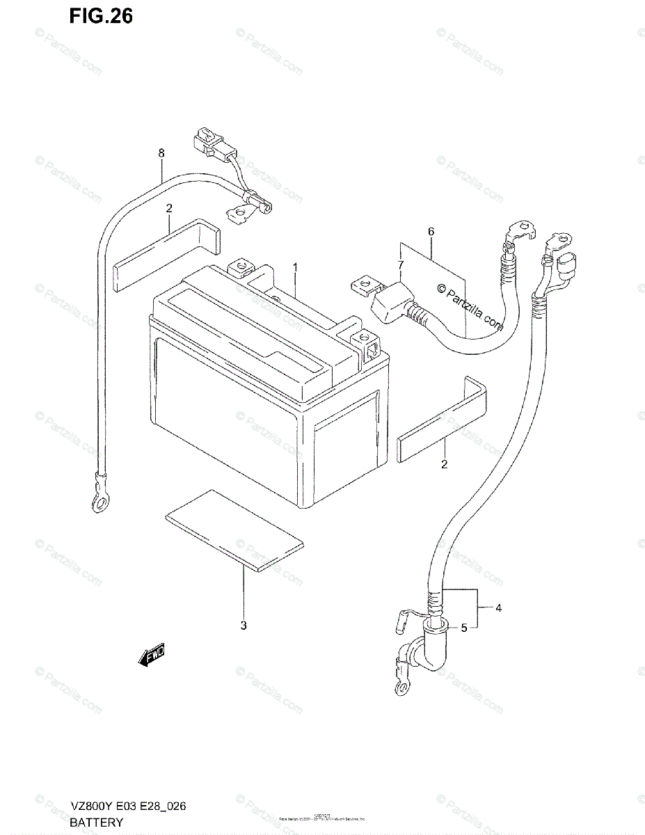 Suzuki Motorcycle 2001 OEM Parts Diagram for Battery