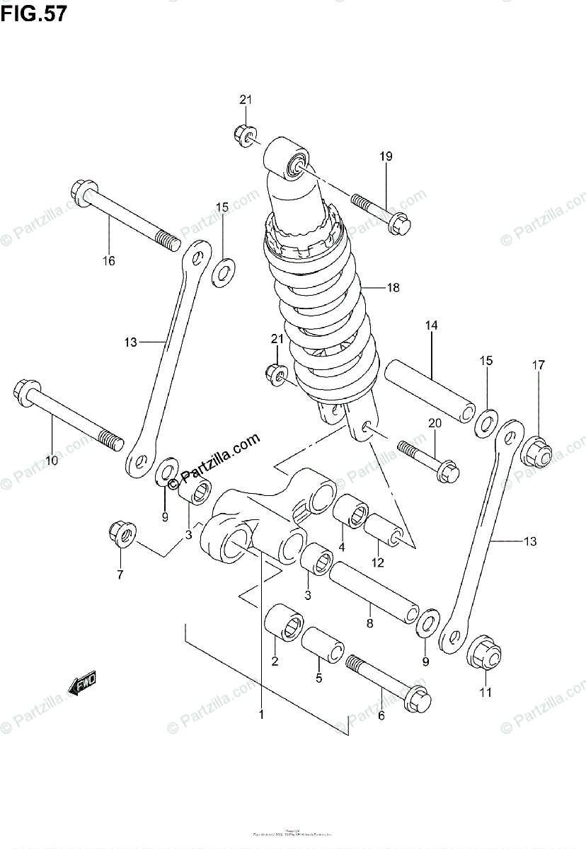 Suzuki Motorcycle 2002 OEM Parts Diagram for Rear Cushion