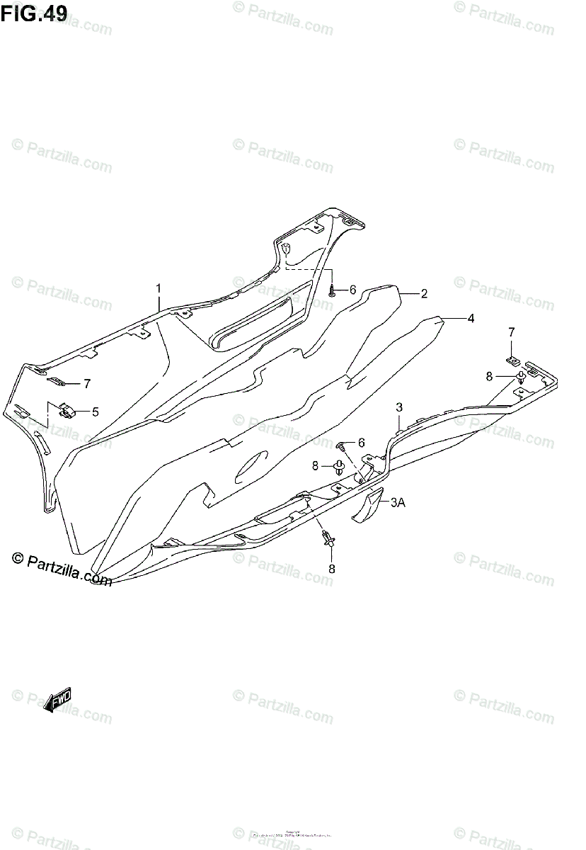 Suzuki Scooter 2003 OEM Parts Diagram for Side Leg Shield