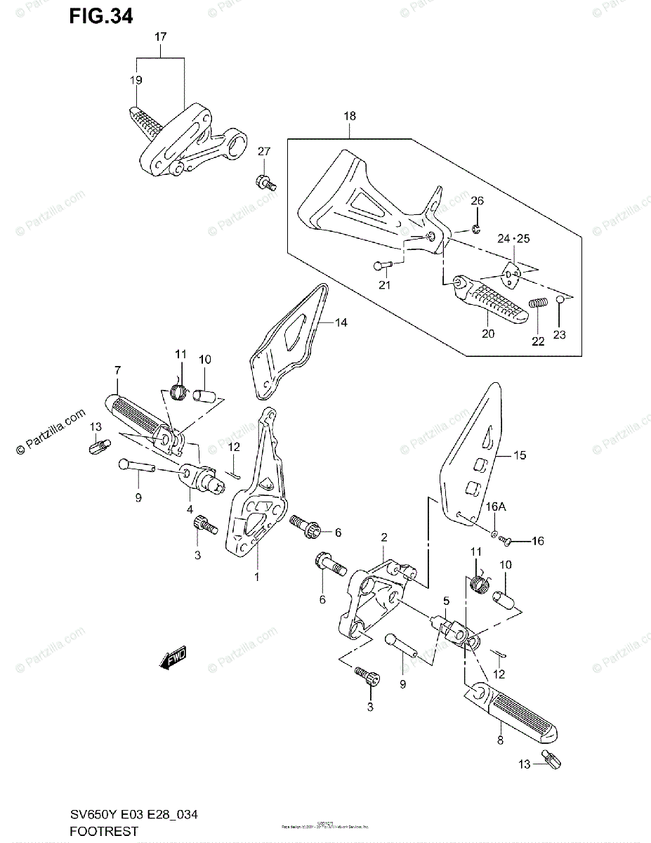 Suzuki Motorcycle 2001 OEM Parts Diagram for Footrest