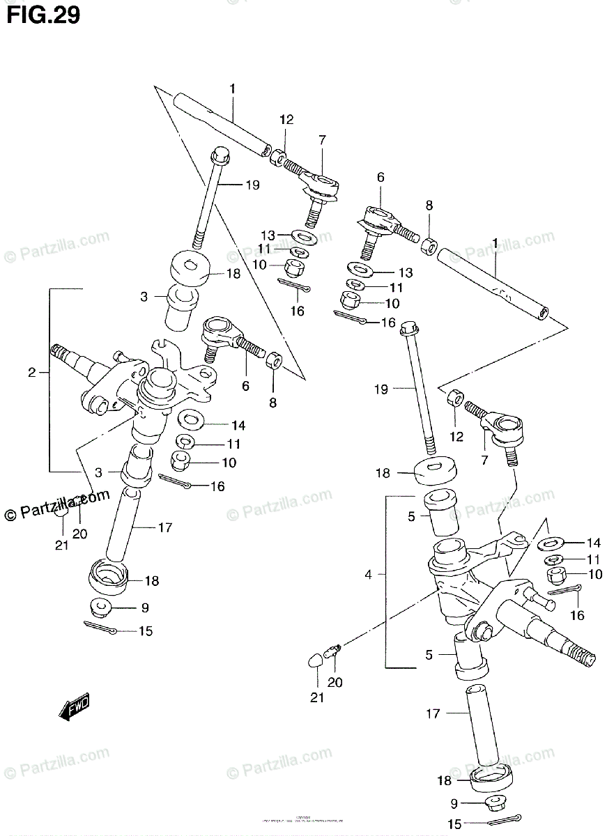 Suzuki ATV 1999 OEM Parts Diagram for Knuckle Arm