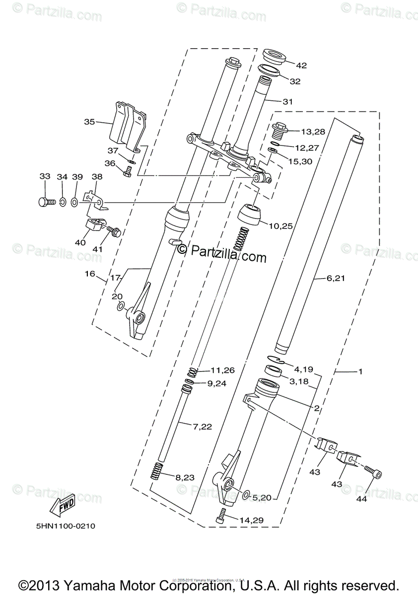 Yamaha Motorcycle 2000 OEM Parts Diagram for Front Fork