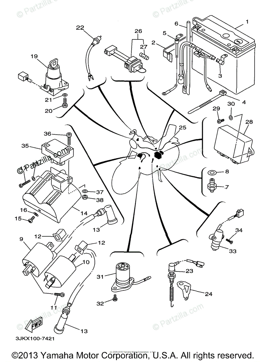 Yamaha Motorcycle 1998 OEM Parts Diagram for Electrical