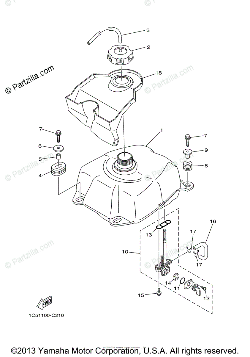 Yamaha ATV 2011 OEM Parts Diagram for Fuel Tank