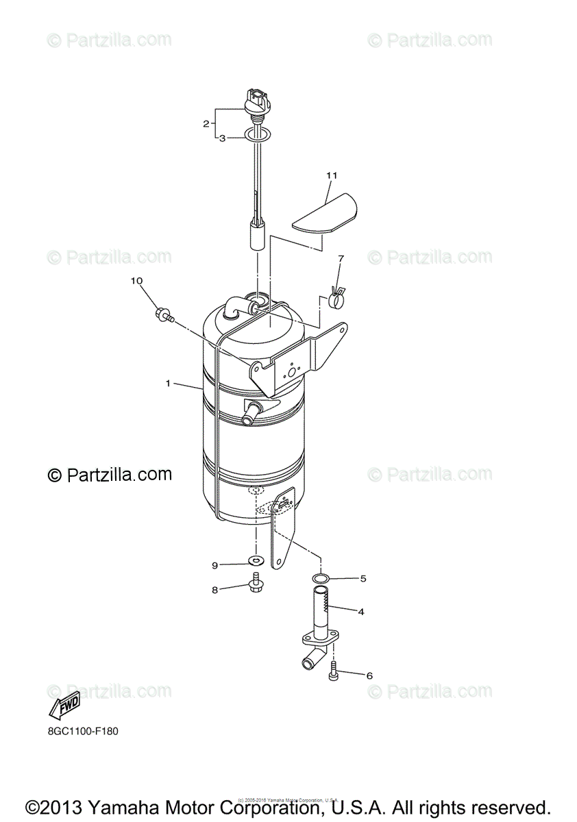 Yamaha Snowmobile 2011 OEM Parts Diagram for Oil Tank