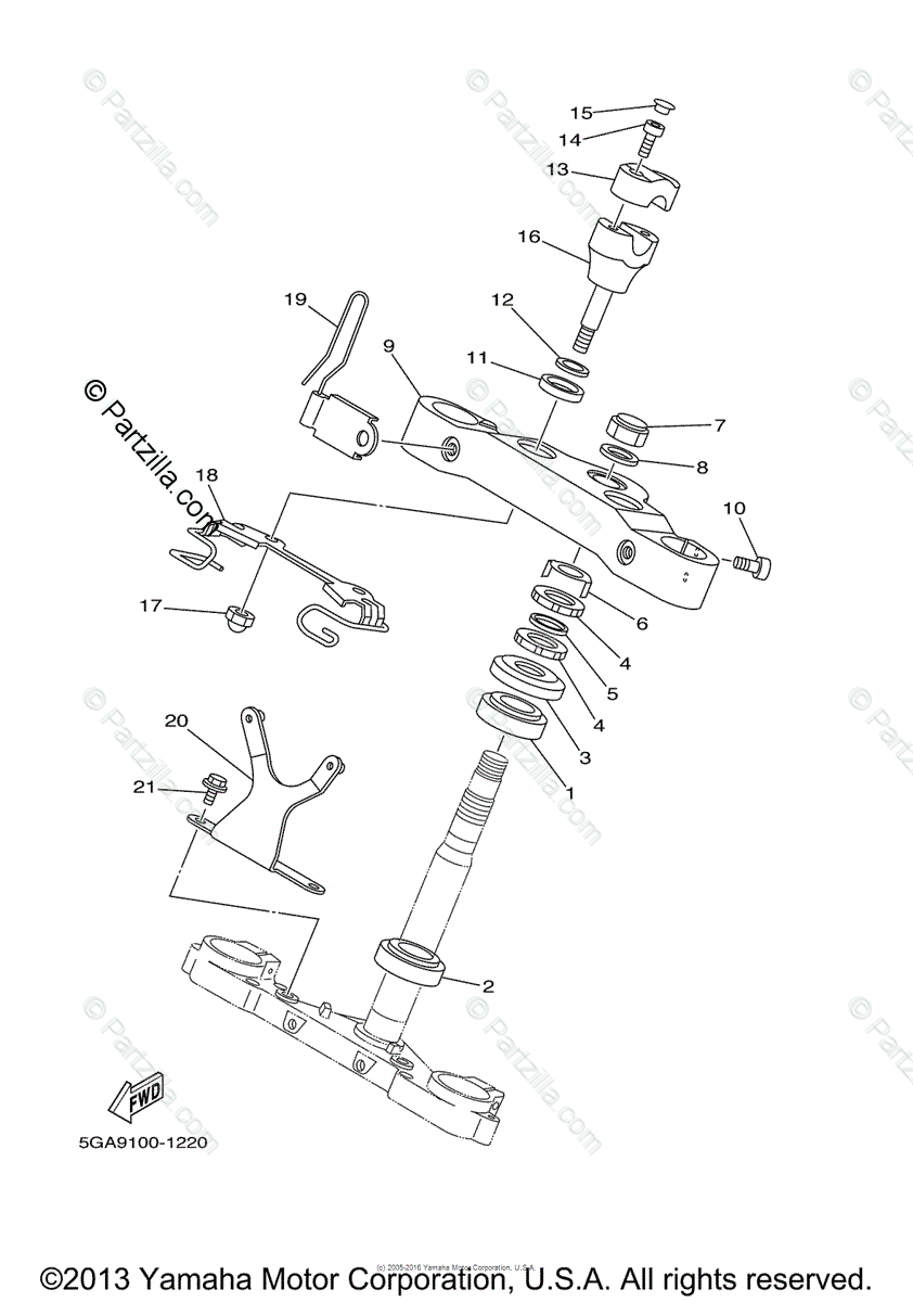 Yamaha Motorcycle 2003 OEM Parts Diagram for Steering