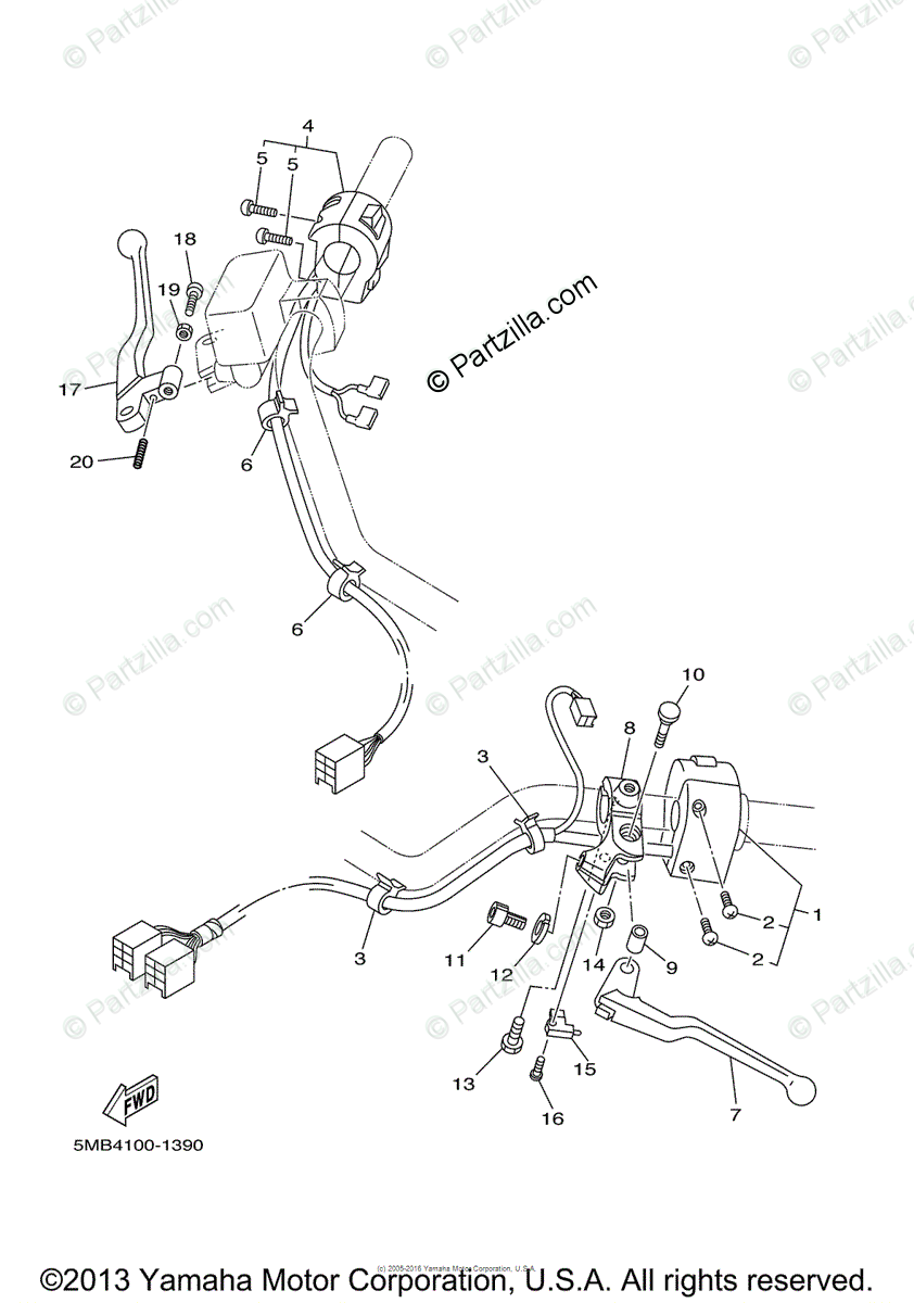 Yamaha Motorcycle 2003 OEM Parts Diagram for Handle Switch